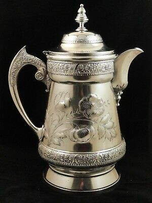 1873 Rogers & Bros Triple Silver Plated Repousse Poppies Coffee Pot w/ Insulator