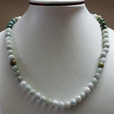 JADE Jewelry ** 100% Natural (Grade A) Multi-Color Jadeite Beads Necklace #N156