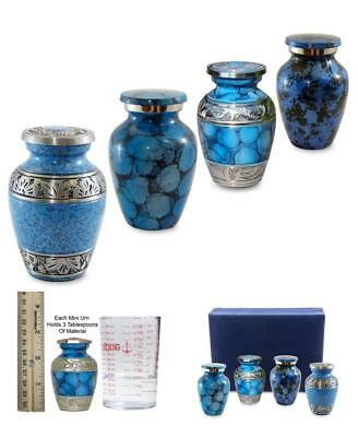 Remembered Memorial Cremation Keepsake Urns Ash Holder Set 4 Classic Blue Mini
