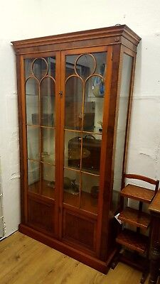 Large Reprodux Bevan Funnell Yew Wood Bookcase Display Cabinet