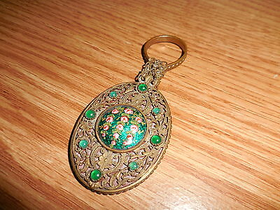 Vintage Hand Held Miniature Mirror With Bead Work