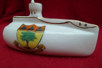 WW1 E4 SUBMARINE CRESTED CHINA CREST FOR ALDERSHOT by SWAN CHINA Reg No. 629146