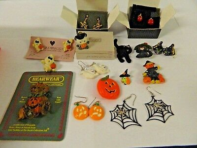 VTG Collection Halloween Earrings & Brooches Bats, Cats , Spiders, Ghosts