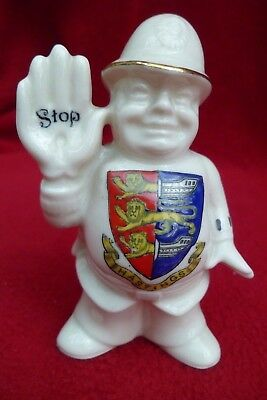 Smiling Policeman Hand Raised 'stop' Crested China Hastings Crest Arcadian China