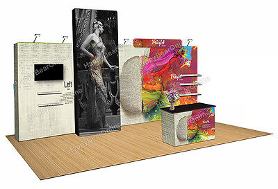 Trade show quick pop-up 20ft x 10ft fabric exhibition booth 10ft tall shelves
