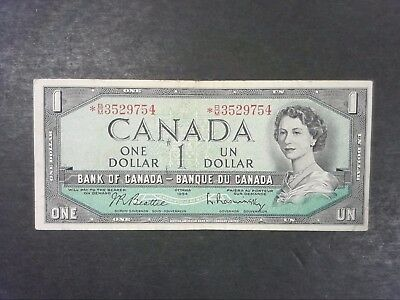Canada 1 Dollar 1954 STAR Replacement Note - Modified Hairstyle
