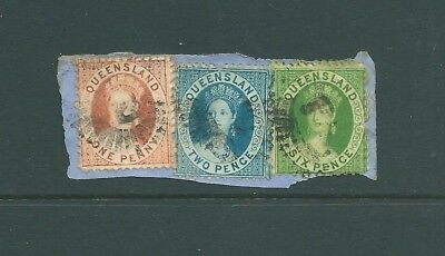 QUEENSLAND - Queen Victoria piece with multi-franking 'Chalon Head' stamps 9d