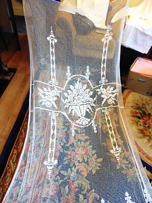 Vintage French filet lace net curtain hand knotted fringe door curtain window
