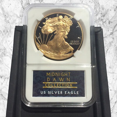1 Oz American Silver Eagle Coin- 24Kt Gold & Black Midnight Dawn Collection