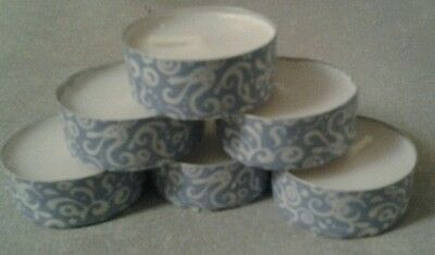 DECORATIVE TEALIGHTS x 6, DINING FRIENDLY, BLUE PATTERN, CONTEMPORARY FREE P& P