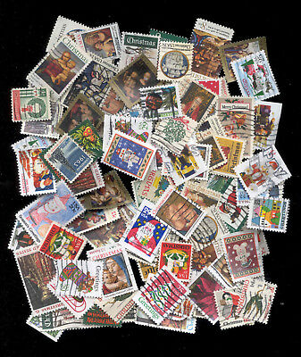 Merry Christmas 93 Stamps Mixture U.S. Duplicates Lot Used