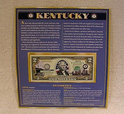 Kentucky  $2 Two Dollar Bill - Colorized State Landmark - Uncirculated Authentic