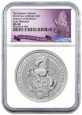 2018 Great Britain 2 oz Silver Queen's Beasts Unicorn £5 NGC MS69 ER SKU49482