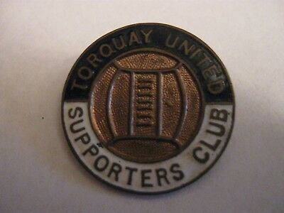 Rare Old Torquay United Football Supporters Club Large Enamel Brooch Pin Badge