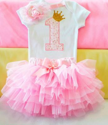 Girl First 1st Birthday Outfit Tutu Dress Skirt Cake Smash Bow Headband Pink
