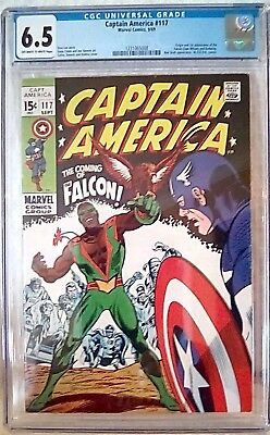 Captain America #117 (9/69) Cgc 6.5 Ow/wp Key 1St Falcon Redwing Red Skull App