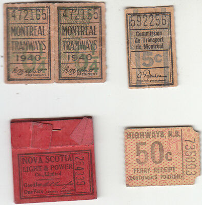 COLLECTION OF OLD TRANSIT and TROLLEY TICKETS.Lot of 9 .Quebec & Nova Scotia