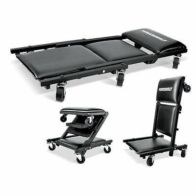 "3-in-1 40"" MECHANICS CREEPER, ROLLER SEAT & ROLLING CHAIR Stool w/ Tool Box Tray"