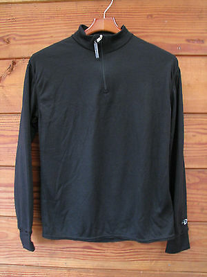 Women's Large Duofold Performance Thermal Wear Zip T Neck Top Black Polyester