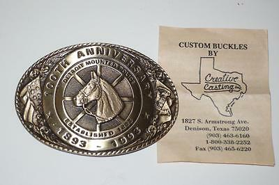 Vintage Creative Casting 100TH ANNIVERSARY DETROIT MOUNTED POLICE BELT BUCKLE