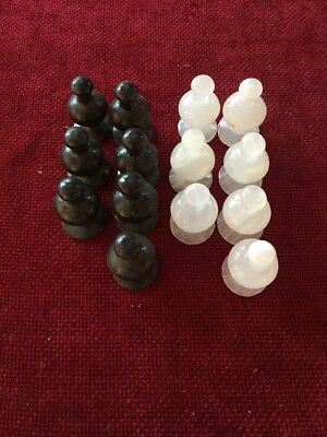 Replacement Chess Pieces - Black And White Onyx Stone - Pawns