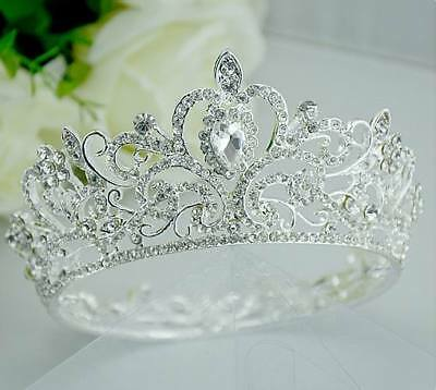 5.5cm High Crystal Rhinestone 4 Women Girl Hair Tiara Crown Party Silver T00108