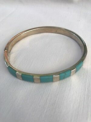 Native American Indian Stirling Silver & Real Turquoise Bracelet / Bangle 925