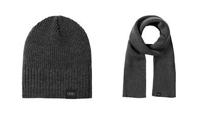 AUDI Scarf Scarf + Beanie Hat Knitted Unisex Grey 3131701100 +3131701200