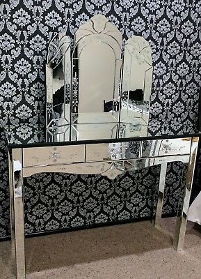Mirrored glass dressing table with separate angled mirror