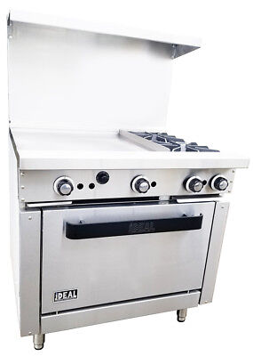 "New. Commercial 36"" Combination Range with 2 Burners & 24"" Griddle. Made in USA."