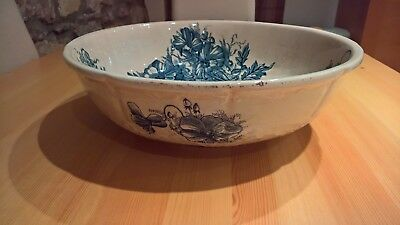 Beautiful Victorian Wash Bowl Blue Flowers Ideal For Wash Stand English Antique