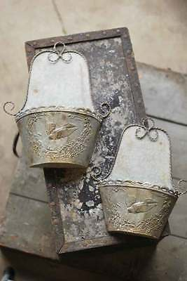 Galvanized Embossed Metal Wall Pockets~Planters~French Farmhouse Set of two
