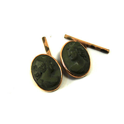 Antique Lava Cameo Cufflinks 14k Gold Victorian Grand Tour Pompeii Roman Goddess