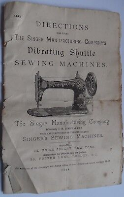 Original SINGER 1891 VS2 Vibrating Shuttle Sewing Machine Instructions Manual