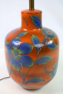 Vtg 60s Gorgeous Burnt Orange Cobalt Blue Floral Retro Boho Pottery Table Lamp