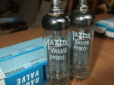 PY801 VALVES TUBES  x  2 Off by MAZDA  (New Old Stock)