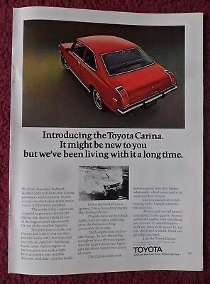 1972 Print Ad Toyota Carina Car Automobile ~ Been Living With It a Long Time