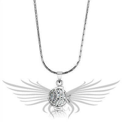 """2ct AAA Cubic Zircon CZ Rhodium Plated Fish Pendant with 18"""" Chain LO4148"""