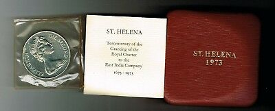 1973 St Helena silver proof 25 pence crown coin - 28.3g - Tercentenary