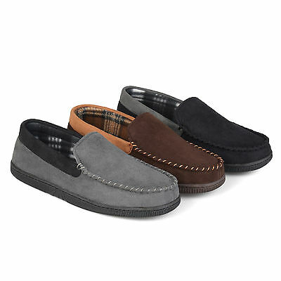 Territory Mens Micro Fleece Lined Faux Suede Mocassin Slippers