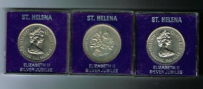 3 x 1977 St Helena CuNi 25 pence crown coins - Queen's Jubilee