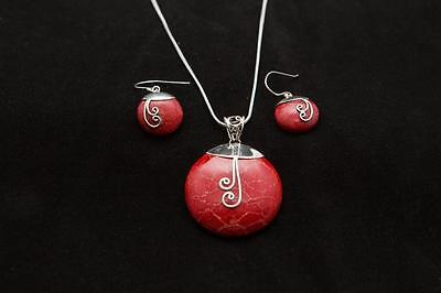 New Red Coral Pendant & Earring Set 925 Silver 50cm chain gift box