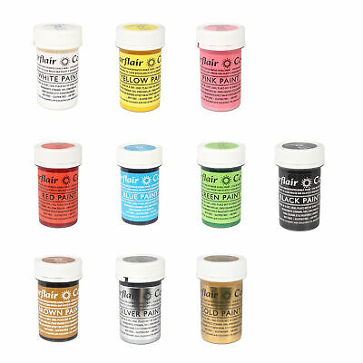 10 x Sugarflair Edible Matt Paint Cake Icing Food Colour Sugarpaste Decorating