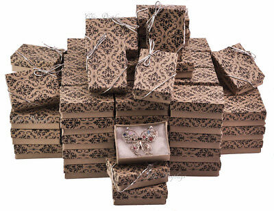 Lot Of 100 Damask - Kraft Cotton Filled Box Jewelry Gift Boxes Box ~Deal~