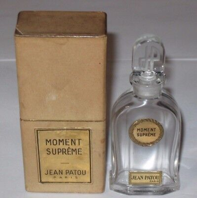 Vintage Jean Patou Moment Supreme Perfume Bottle & Glass Stopper With Box - 4""