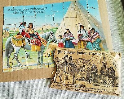 Old Advertising Premium Puzzle Native Americans & Singer Sewing Machine Indians