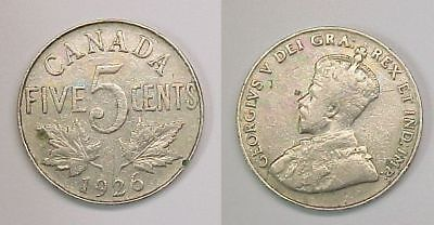 1926 Canadian Nickel Canada Five Cents VG  Very Good