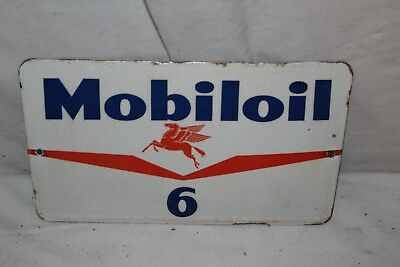 Rare Vintage c.1960 Mobil Mobiloil Motor Oil Gas Station Porcelain Metal Sign