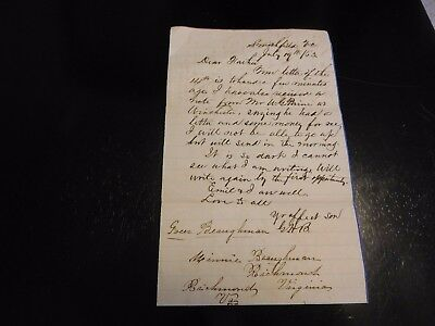 1863 Smithfield Virginia Confederate Soldier's Letter So Dark Need Pants Drawers