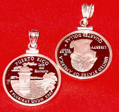 2009 Puerto Rico Quarter Proof Coin Pendant Silver New